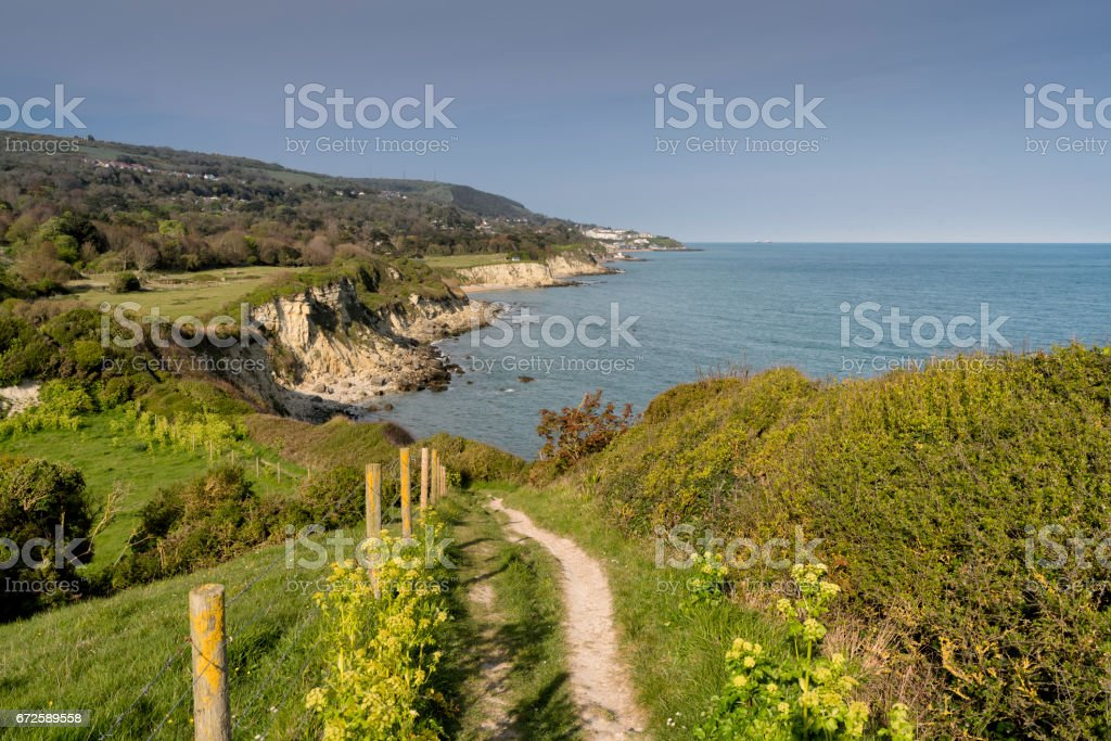 Isle of Wight Coastal Path at St. Lawrence, looking west towards Ventnor stock photo