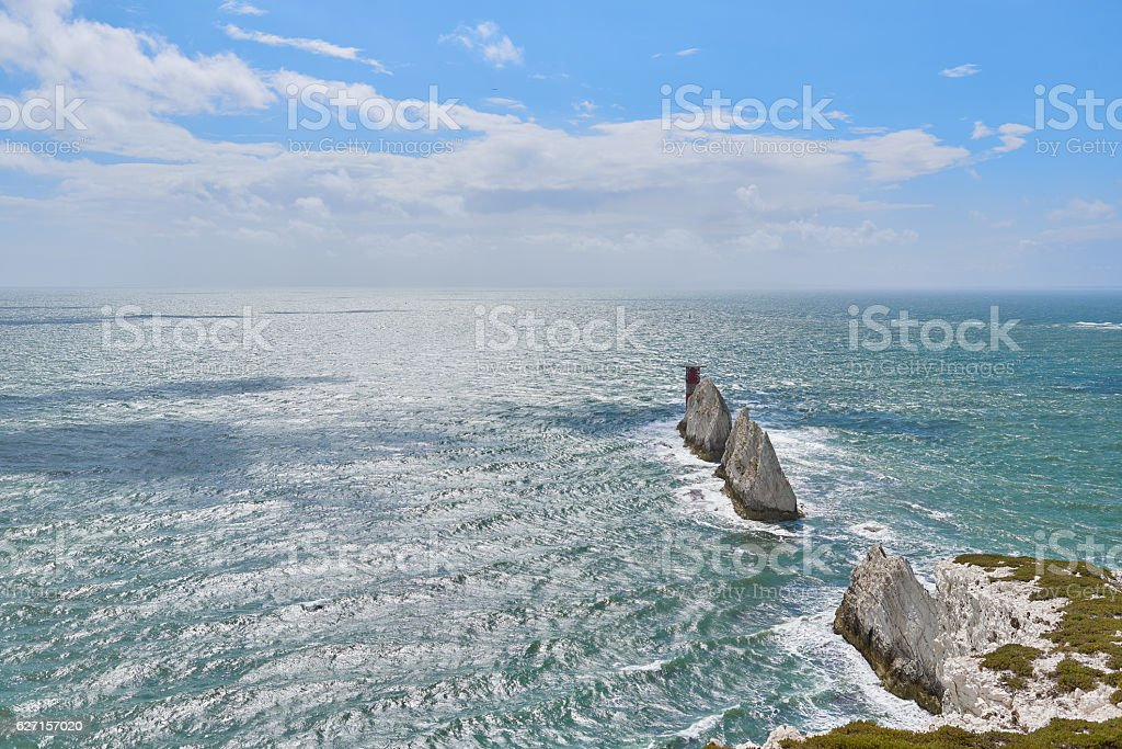 Isle of Wight, The Needles view out to sea stock photo