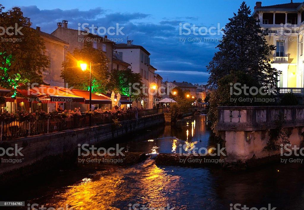 L'Isle-sur-la-Sorgue and the river Sorgue (Vaucluse) stock photo