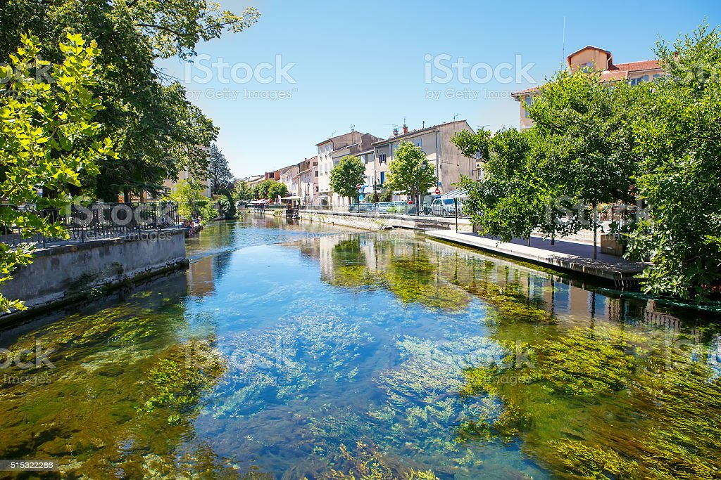 L'Isle-Sur-La-Sorgue, small typical town in Provence, France stock photo
