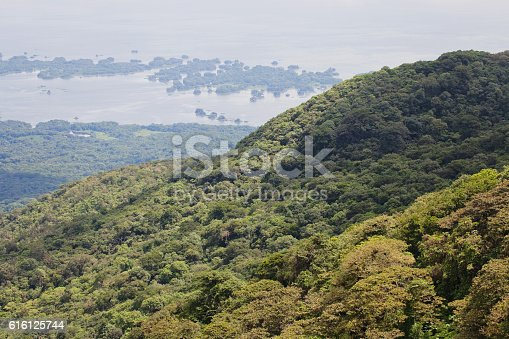 A look toward the Isletas de Granada, past the cloud forest of Volcan Mombacho. Nicaragua.