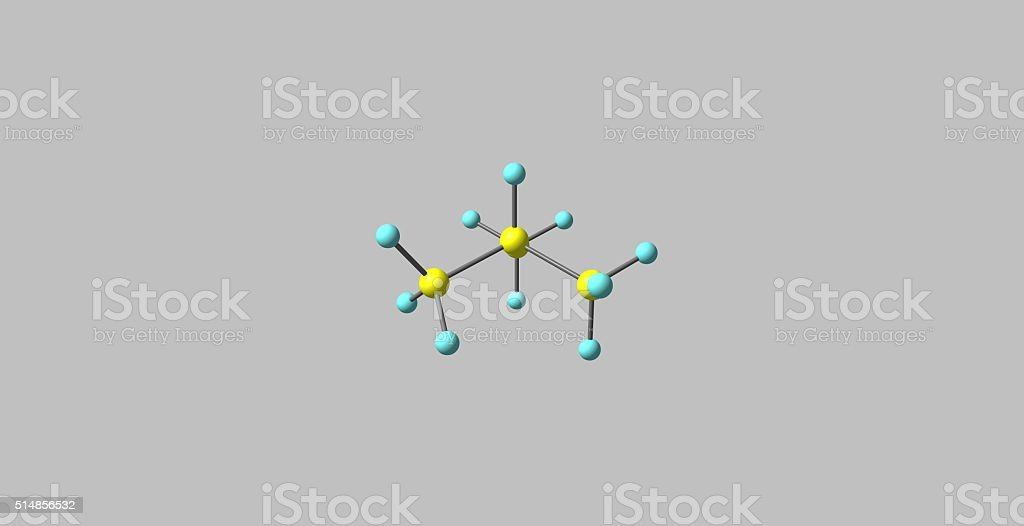 Isobutane molecular structure isolated on grey stock photo