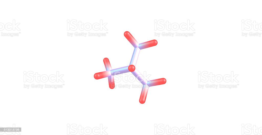 Isobutane molecular structure isolated on white stock photo