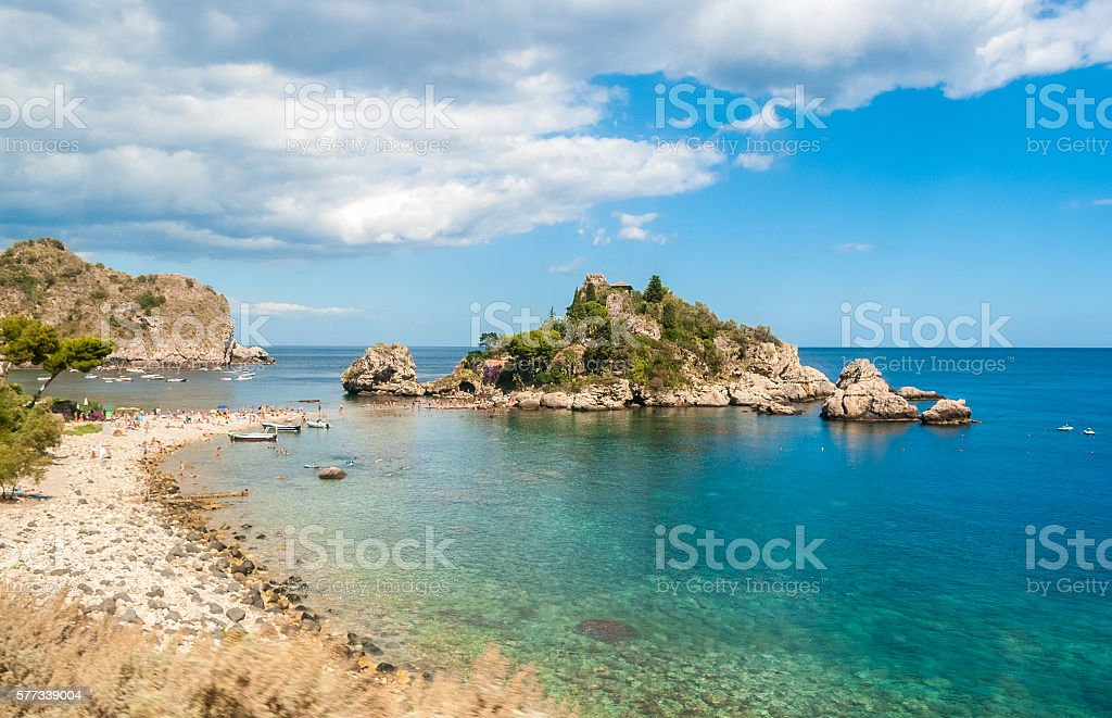 Isola Bella, in Taormina (Sicily), during the summer stock photo