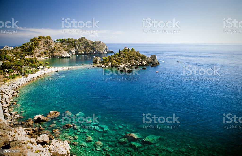 Isola bella in Taormina, Sicily stock photo