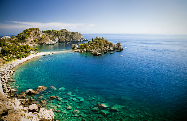 Isola bella in Taormina, Sicily Isola bella, a small island near Taormina, Sicily sicily stock pictures, royalty-free photos & images
