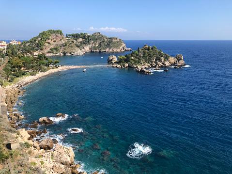 View of Isola Bella and beach near Taormina, Sicily.