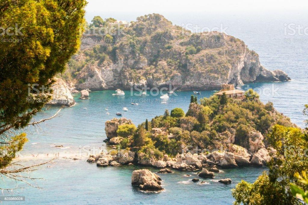 Isola bella of Taormina stock photo