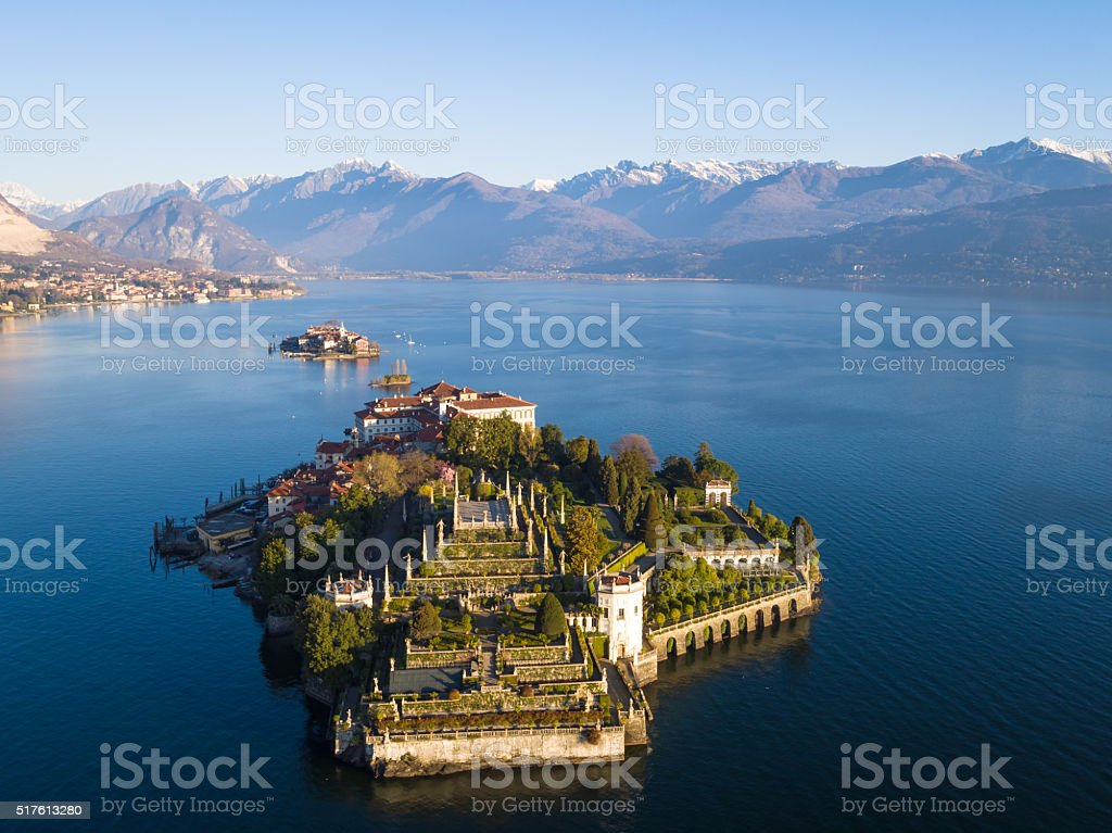 Isola Bella on Lake Maggiore from bird view stock photo