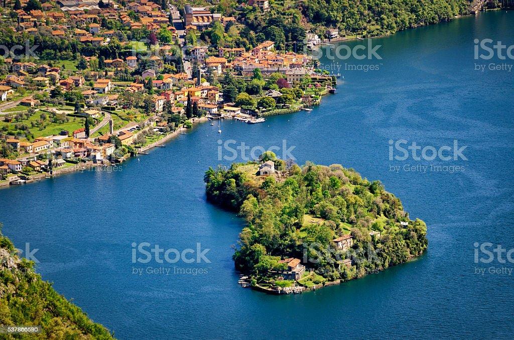 Isola Comacina nel Lago di Como (Lake Como Italy) stock photo