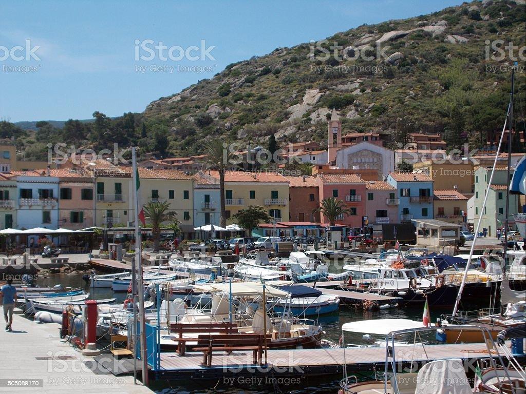 isola del giglio - old town near harbor stock photo