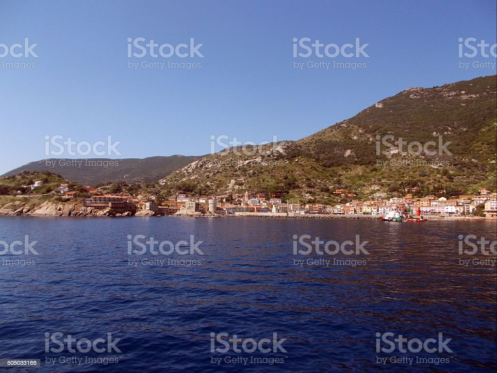 isola del giglio - view from the village from sea stock photo