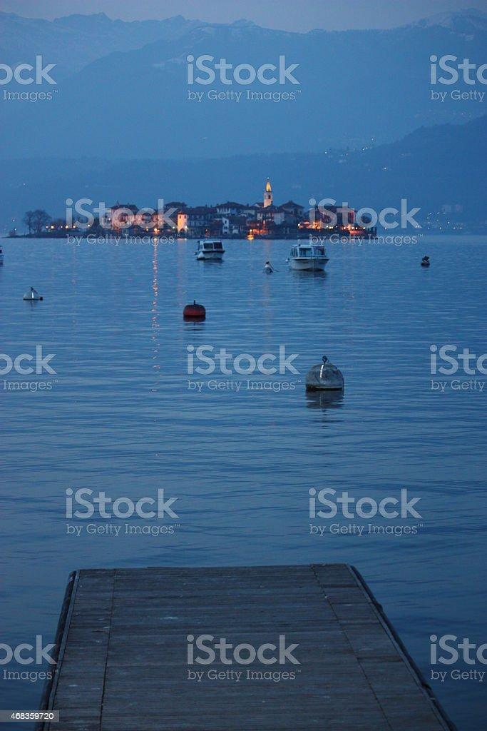 Isola Pescatori in the evening twilight Lake Maggiore Stresa Italy royalty-free stock photo
