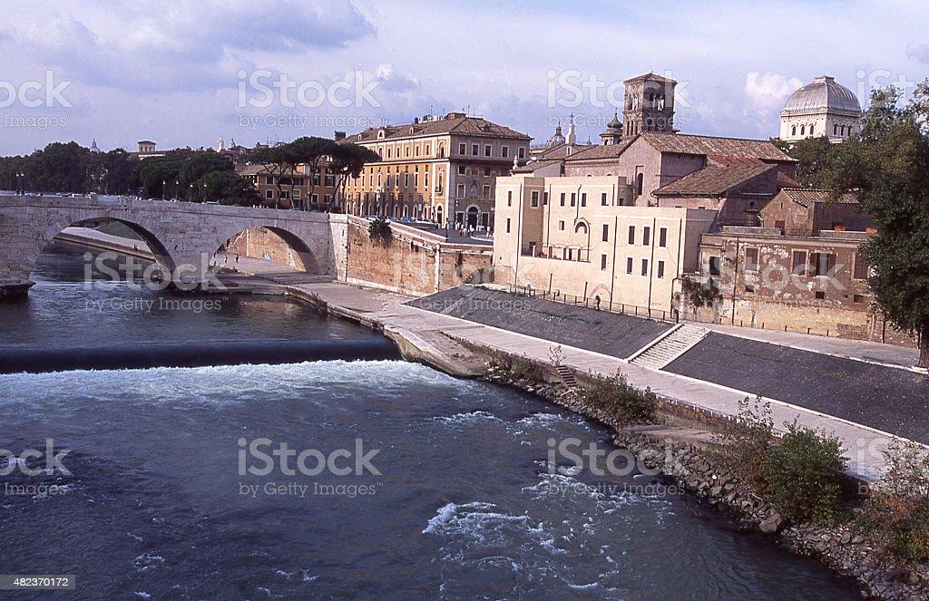 Isola Tiberina and the Ponte Palatino Rome Italy stock photo