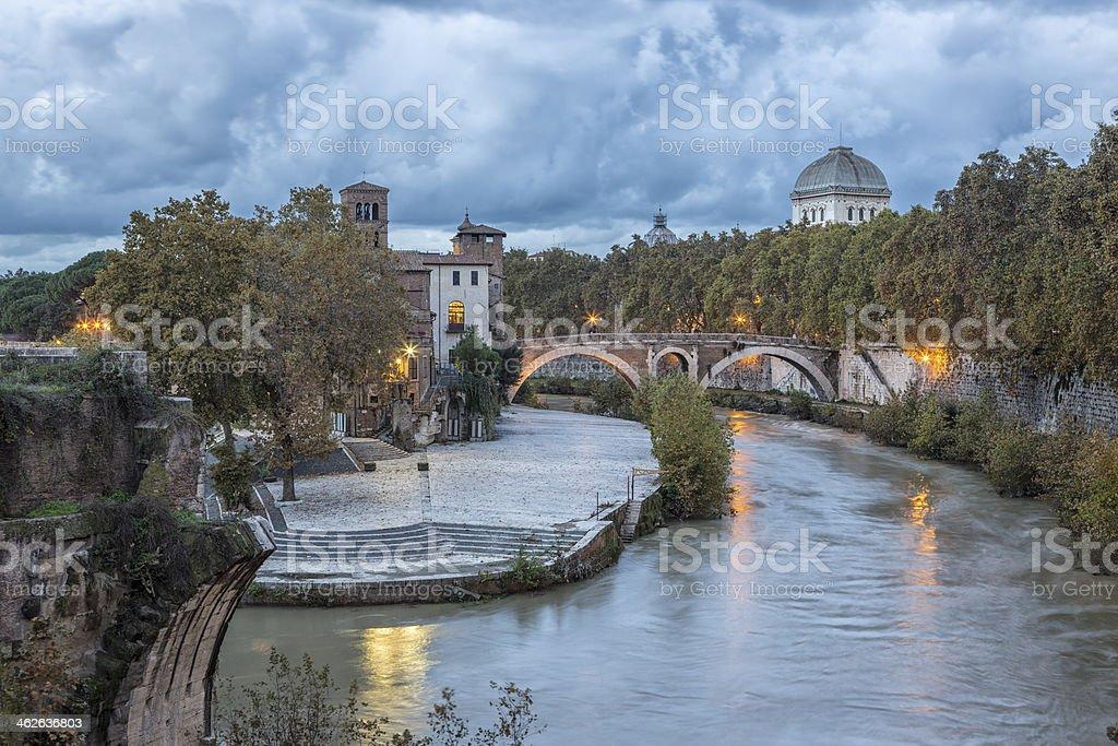 Isola Tiberina and Tiber River at dusk, Rome Italy stock photo