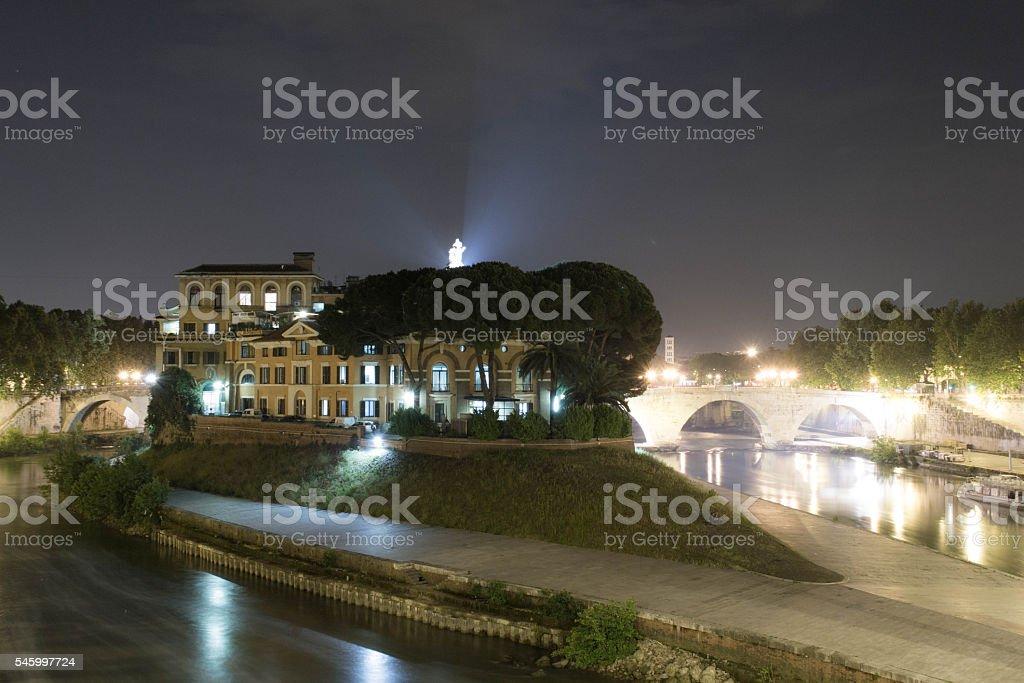 Isola Tiberina in Rome stock photo