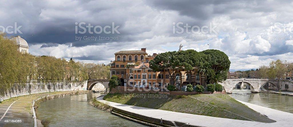 Isola Tiberina landscape - Rome, Italy stock photo