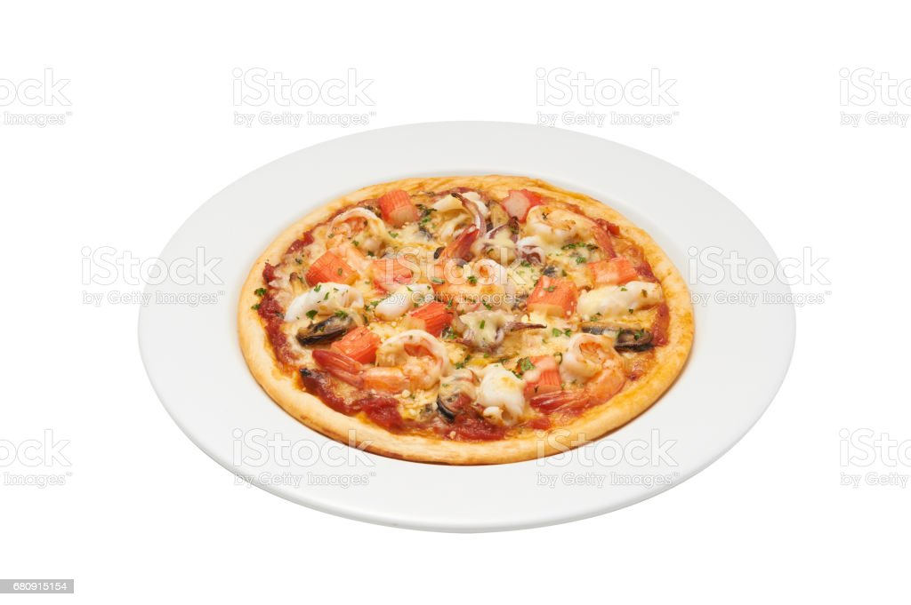 Isolate and clipping path of pizza with seafood. royalty-free stock photo