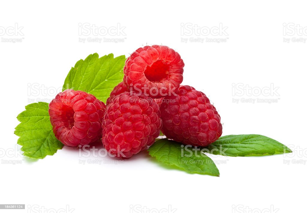 Isolate close-up of fresh raspberries stock photo