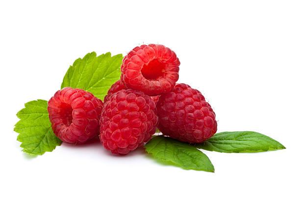 isolate close-up of fresh raspberries - hallon bildbanksfoton och bilder