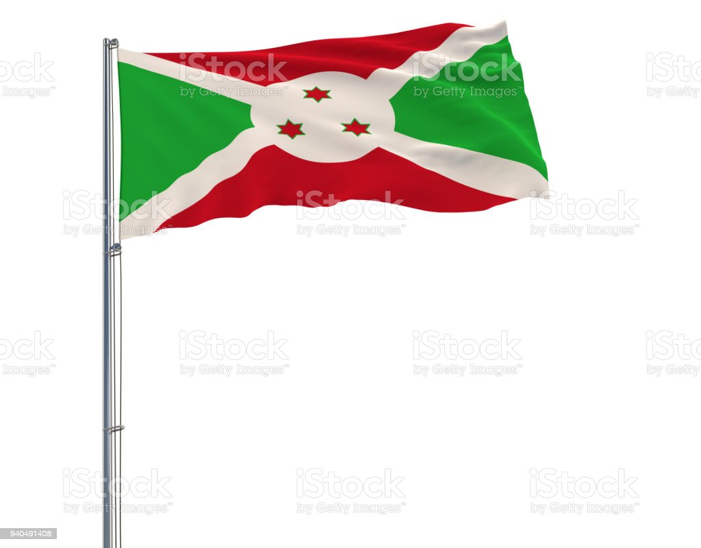 Isolate flag of Burundi on a flagpole fluttering in the wind on a white background, 3d rendering. stock photo