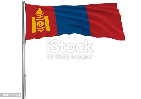 istock Isolate flag of Mongolia on a flagpole fluttering in the wind on a white background, 3d rendering 1081577024