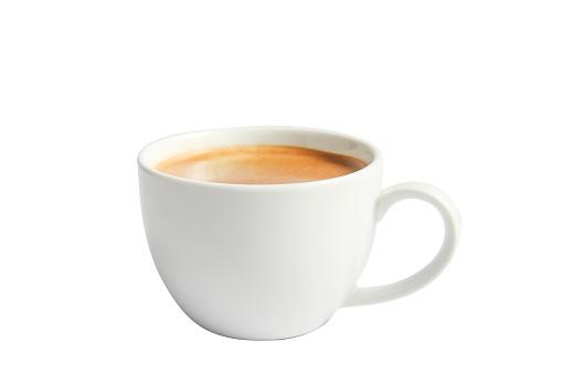 Isolate hot coffee in ceramic mug on white.
