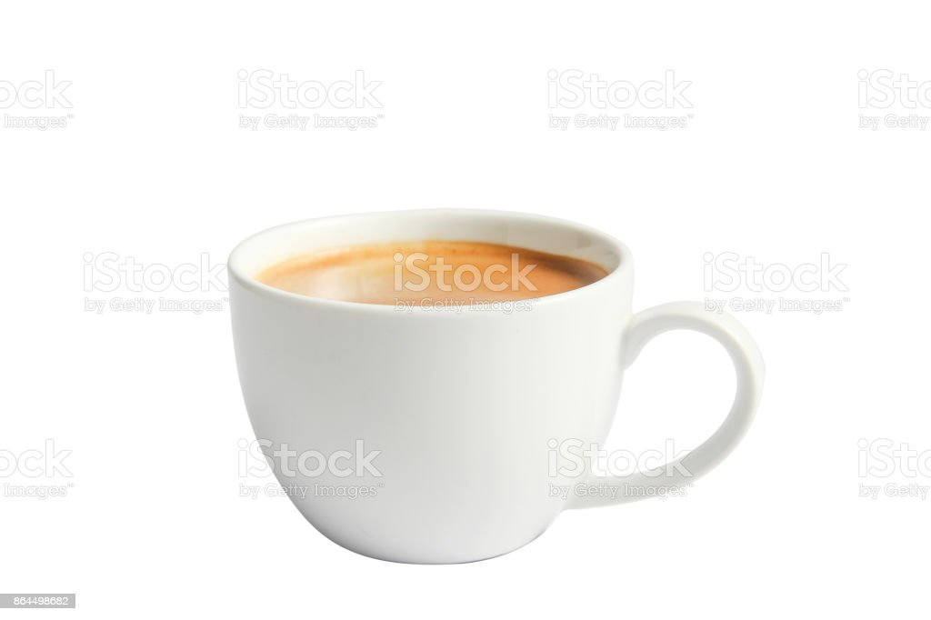 Isolate hot coffee in ceramic mug on white. stock photo