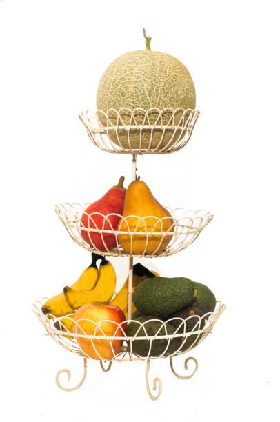 fotografieren von vielen art der früchte in ebene korb zu isolieren - melonenbirne stock-fotos und bilder