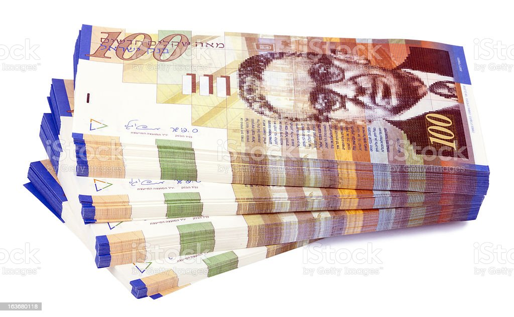 Isolated 100 NIS Bills Stacks Staircase stock photo