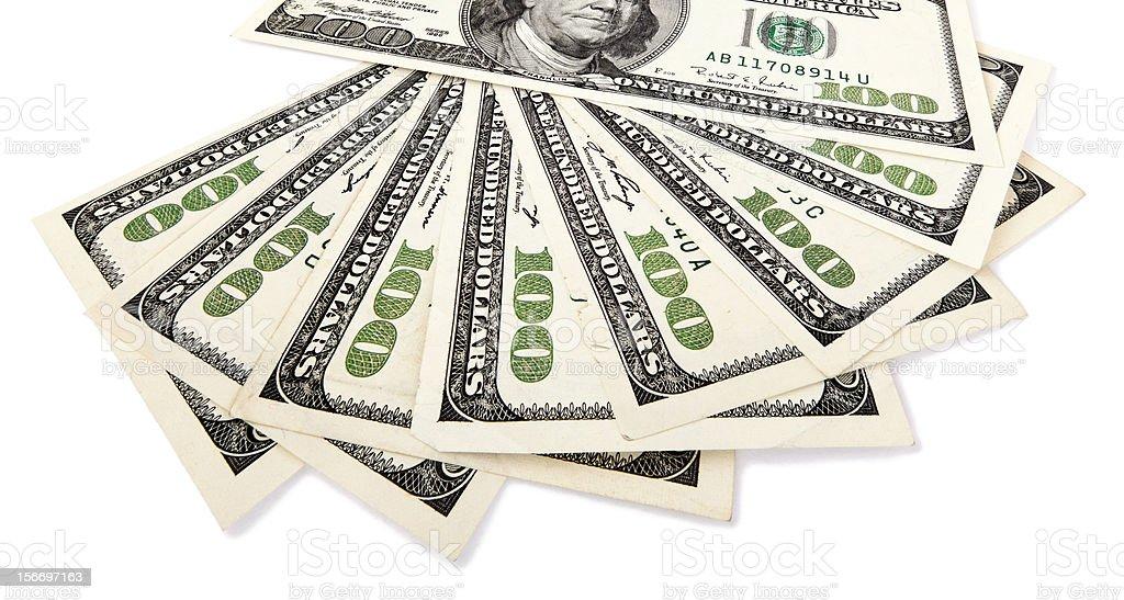 Isolated 100 US$ Bills Fan stock photo