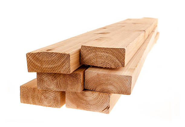 Isolated 2x4 wood boards stock photo