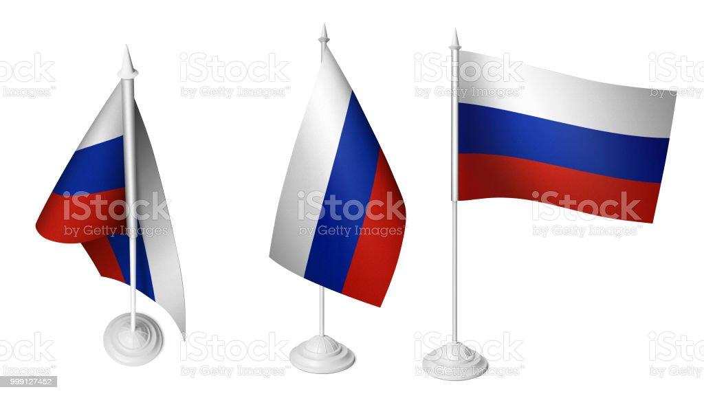 Isolado 3 mesa pequena Rússia bandeira bandeira 3d realista russo de turismo - foto de acervo