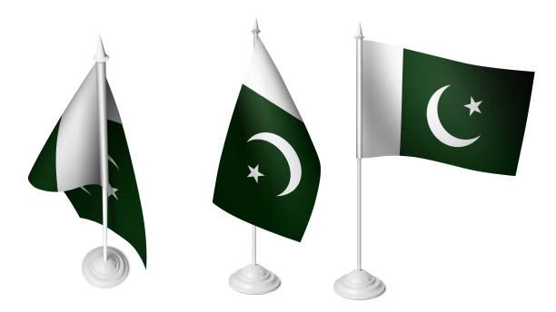 Isolated 3 Small Pakistani Flag waving 3d Realistic Pakistani fabric stock photo