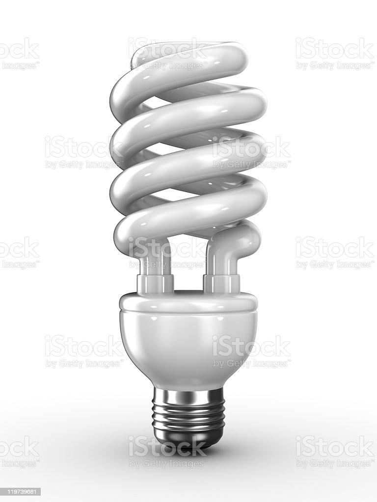 Isolated 3D image of energy saving bulb on white background stock photo