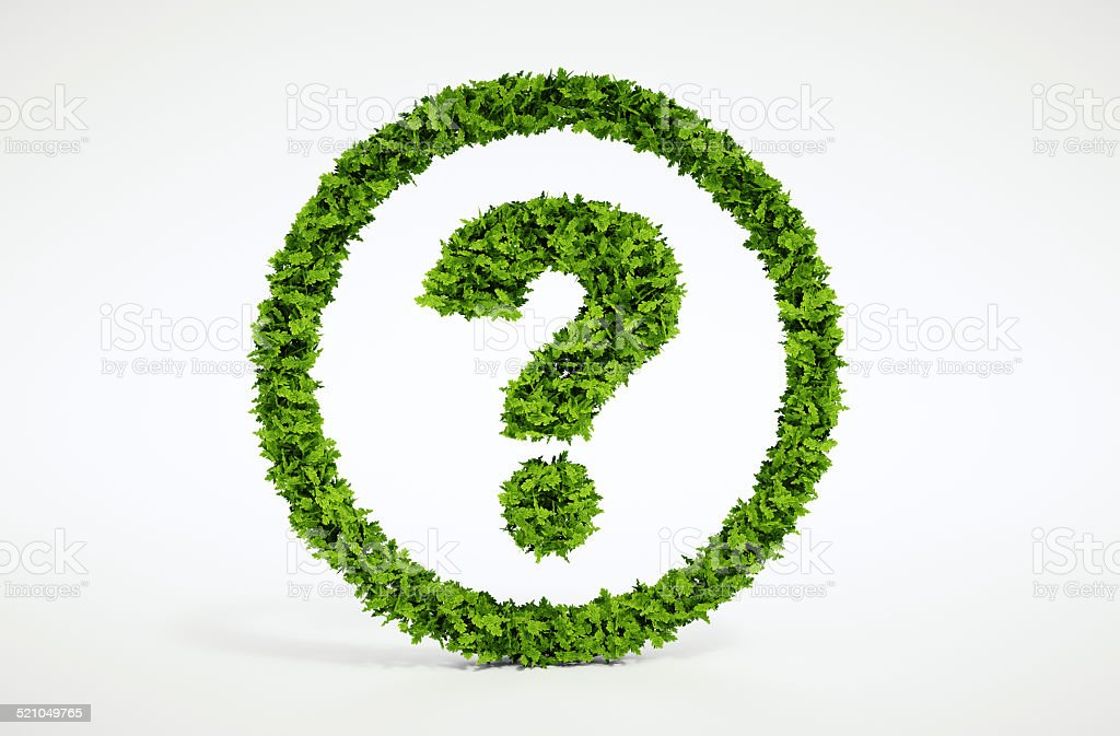 Isolated 3d render natural leaf question symbol with white background stock photo