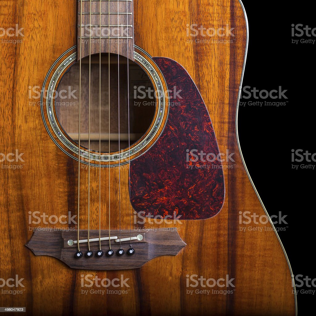 Isolated Acoustic Guitar stock photo