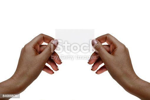 istock Isolated african female hands hold white card on a white background. 846888092