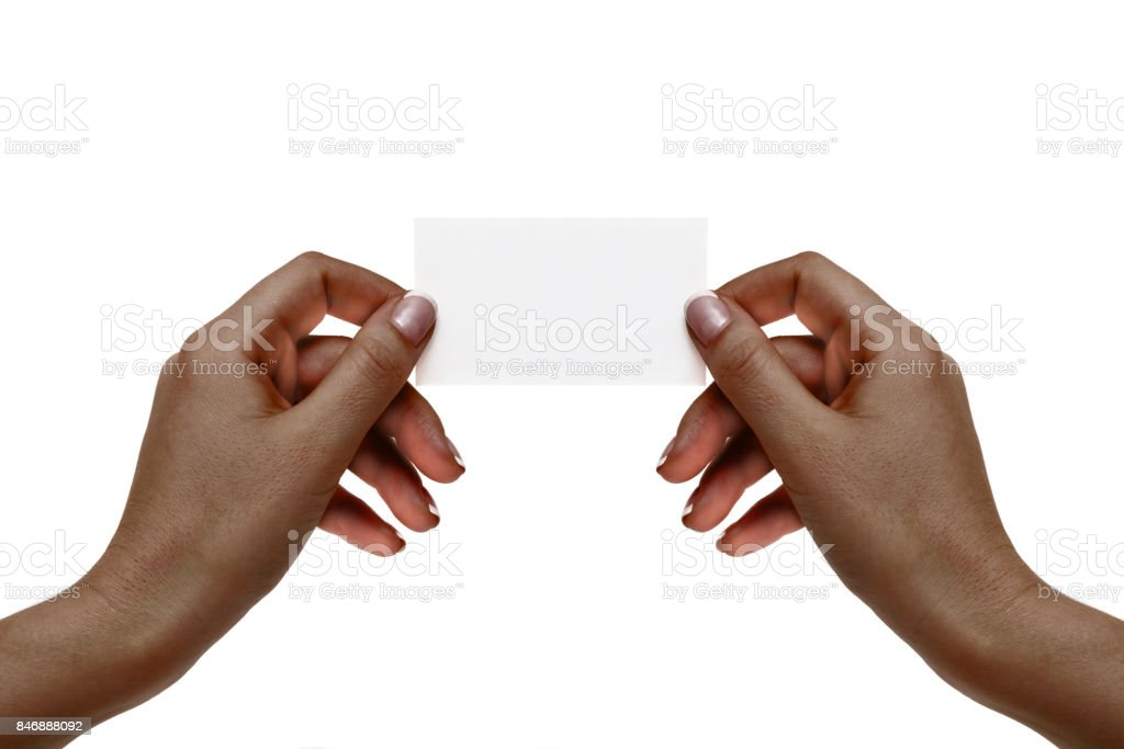 Isolated african female hands hold white card on a white background. stock photo