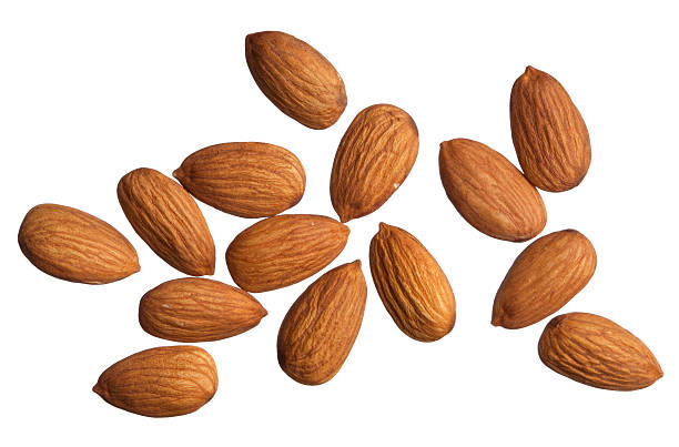 Isolated Almonds stock photo