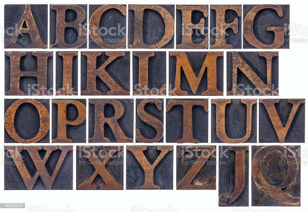 isolated alphabet in wood type stock photo