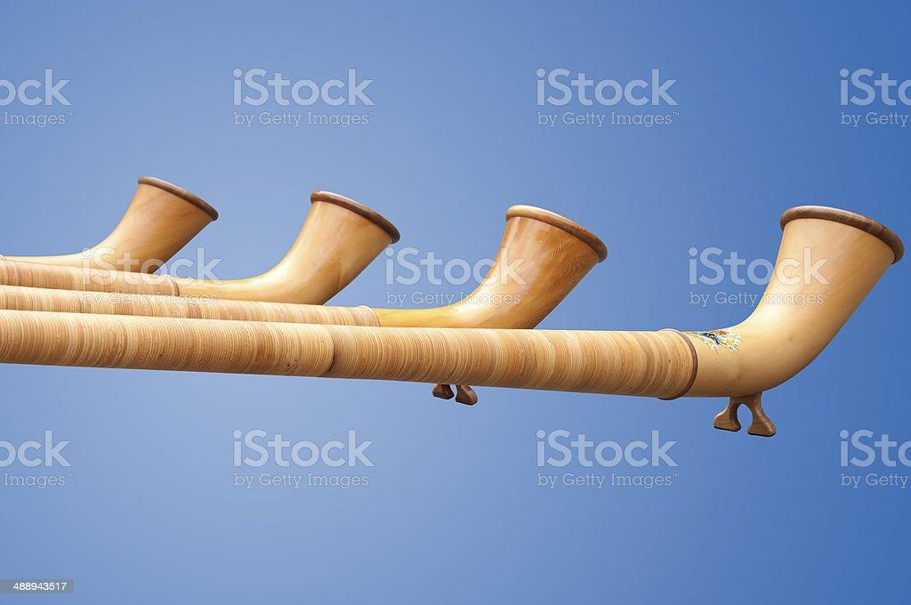 Isolated Alphorns in Switzerland stock photo
