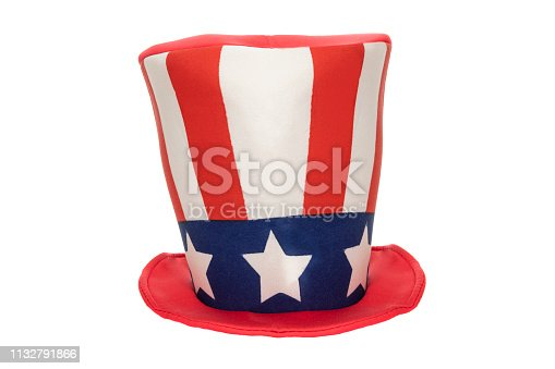 A patriotic top hat with stars and stripes isolated on a white background.