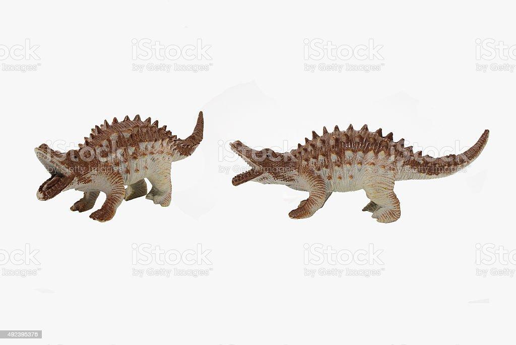 Anquilossauro brinquedos de dinossauro isolado foto. - foto de acervo