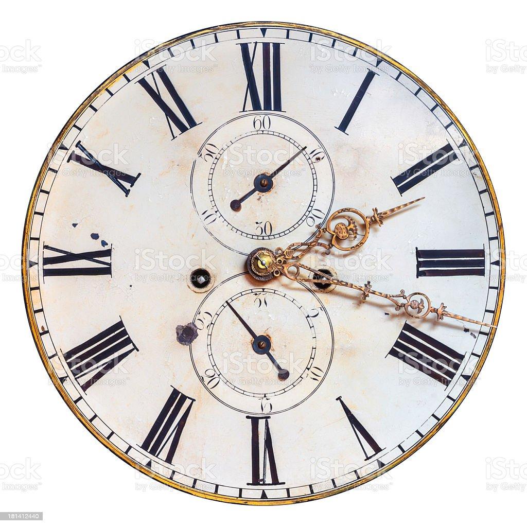 Ejemplar cara de reloj antiguo Aislado en blanco - foto de stock