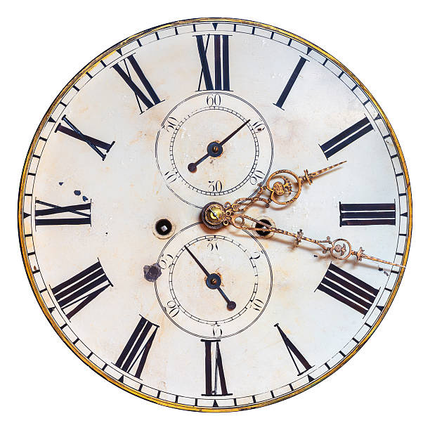 Isolated antique clock face with ornate hands stock photo