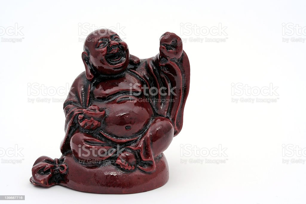 Isolated Antique Red Budda statue royalty-free stock photo
