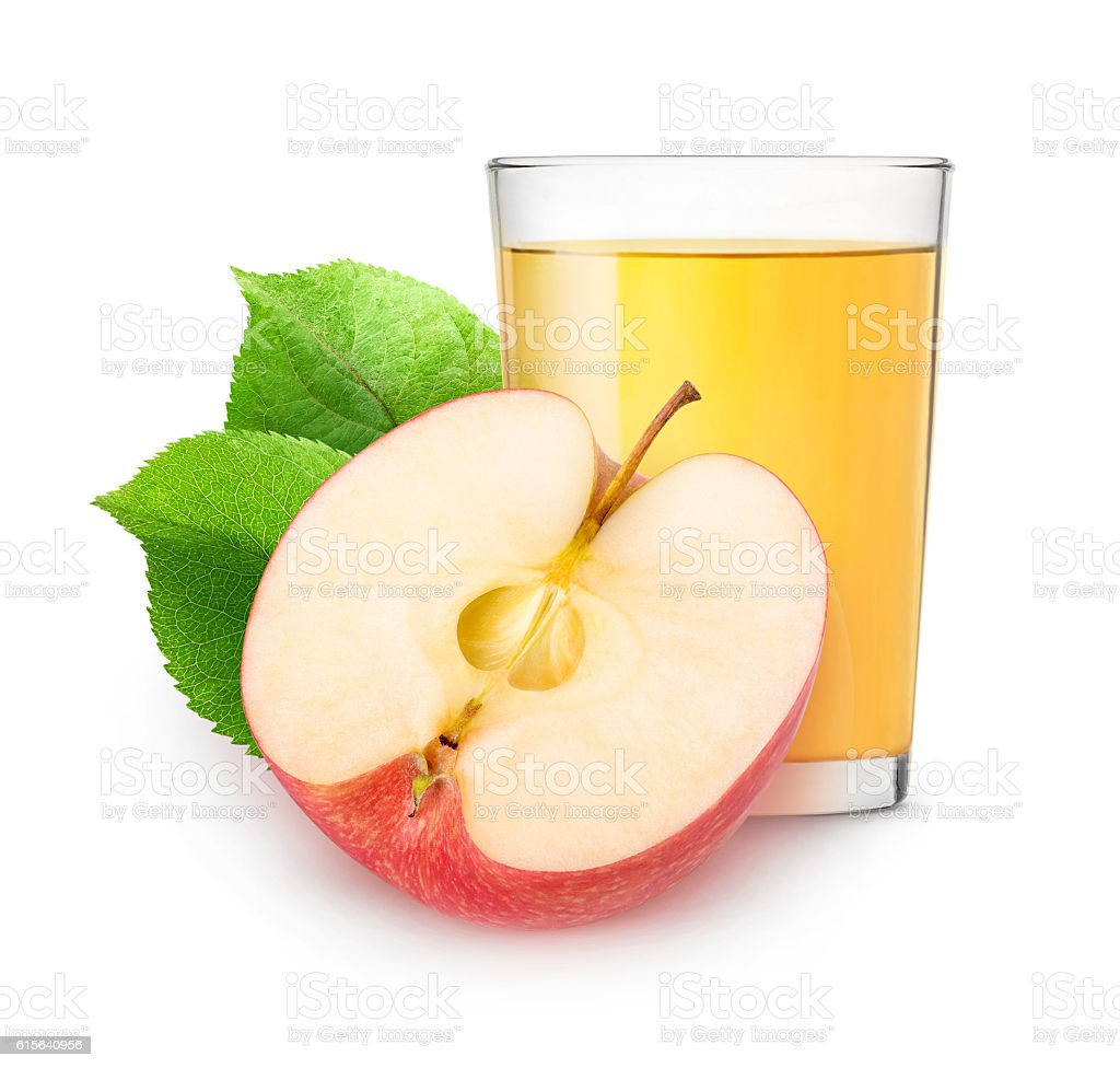 Isolated apple juice and half of fruit – Foto