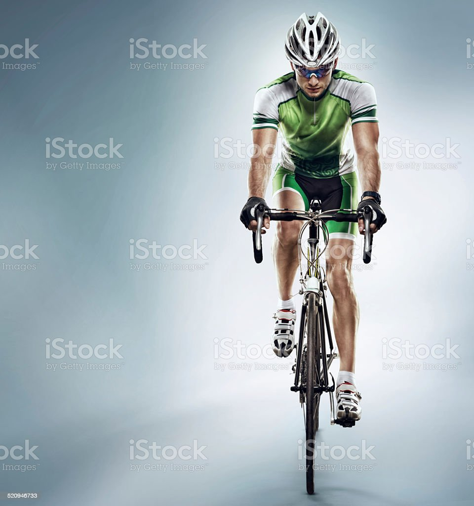 Isolated athlete cyclists stock photo