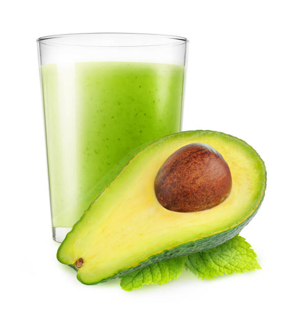 isolierte avocado smoothie - low carb shakes stock-fotos und bilder